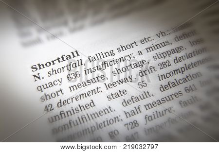 Cleckheaton, West Yorkshire, Uk: Thesaurus Page Showing Definition Of Word Shortfall, 30th March 200