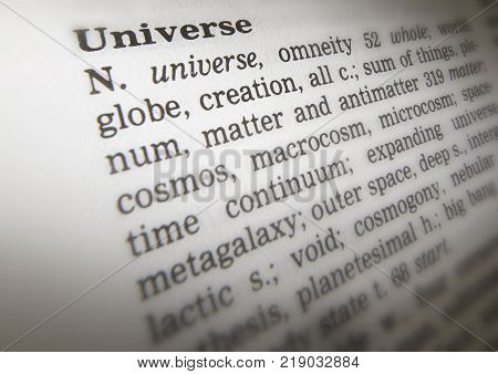 Cleckheaton, West Yorkshire, Uk: Thesaurus Page Showing Definition Of Word Universe, 30th March 2005