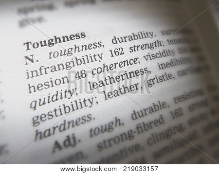 Cleckheaton, West Yorkshire, Uk: Thesaurus Page Showing Definition Of Word Toughness, 30th March 200