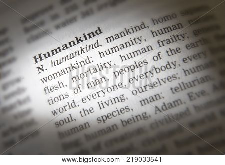 Cleckheaton, West Yorkshire, Uk: Thesaurus Page Showing Definition Of Word Humankind, 30th March 200