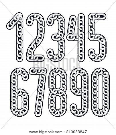 Vector numerals collection. Funky numbers for use as poster design elements. Created using connected chain link.