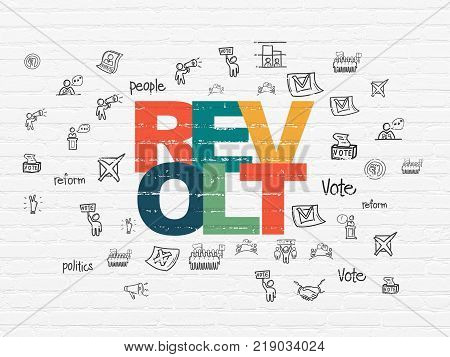 Political concept: Painted multicolor text Revolt on White Brick wall background with  Hand Drawn Politics Icons
