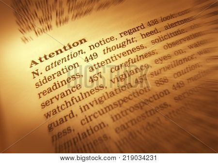 Cleckheaton, West Yorkshire, Uk: Thesaurus Page Showing Definition Of Word Attention, 30th March 200