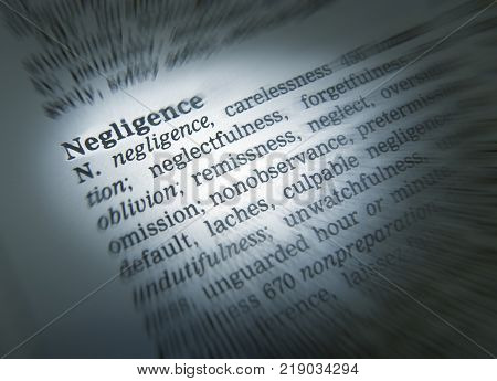 Cleckheaton, West Yorkshire, Uk: Thesaurus Page Showing Definition Of Word Negligence, 30th March 20
