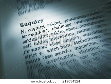 Cleckheaton, West Yorkshire, Uk: Thesaurus Page Showing Definition Of Word Enquiry, 30th March 2005,