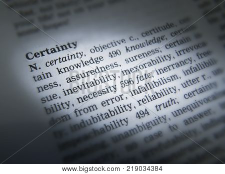 CLECKHEATON, WEST YORKSHIRE, UK: THESAURUS PAGE SHOWING DEFINITION OF WORD CERTAINTY, 30TH MARCH 2005, CLECKHEATON, WEST YORKSHIRE, UK
