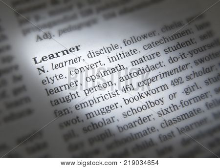 Cleckheaton, West Yorkshire, Uk: Thesaurus Page Showing Definition Of Word Learner, 30th March 2005,
