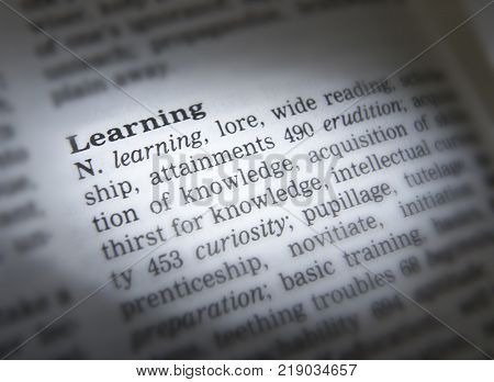 Cleckheaton, West Yorkshire, Uk: Thesaurus Page Showing Definition Of Word Learning, 30th March 2005