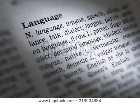 Cleckheaton, West Yorkshire, Uk: Thesaurus Page Showing Definition Of Word Language, 30th March 2005