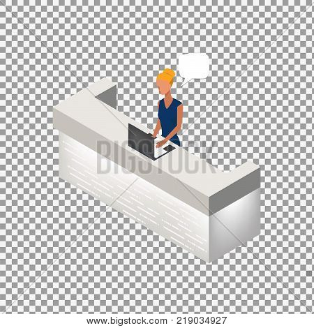 Reception vector service hotel desk business on transparent background. Modern reception in flat style. Isometric Vector illustration