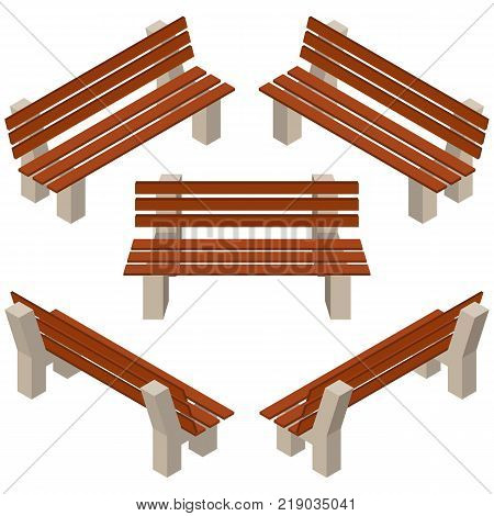 Set of wooden benches.isolated to construct garden farm or other outdoor scenes. Can be used in game or cartoon asset. Vector illustration isometric and top down view