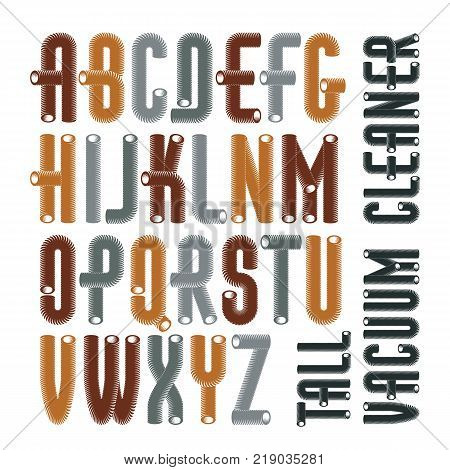 Set of condensed tall cool vector upper case English alphabet letters isolated. Retro font typescript for use in logo design. Made with 3d cylinder tube design industry style.