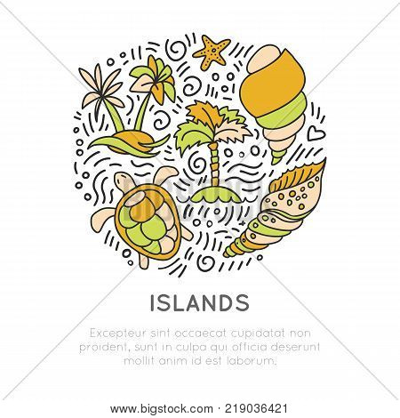 Tropical Island icon set, vector hand draw cartoon icon concept in round form with decorative elements. Palm, seashell, islands, turtle, starfish and cartooning bubbles isolated on white background
