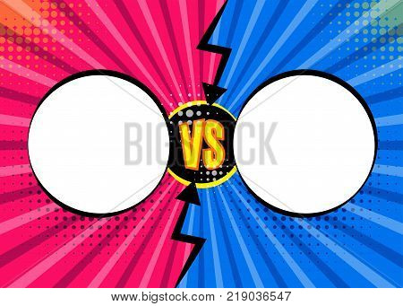 Versus VS letters fight backgrounds in flat comics style design with halftone, lightning, round circle frames. Vector illustration