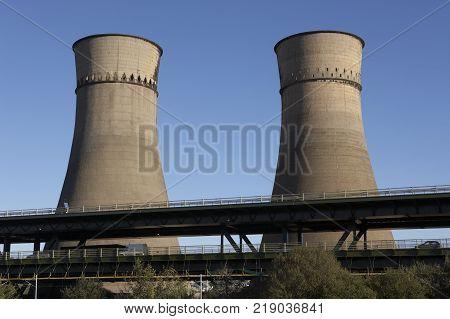 Power Station Cooling Tower Next To M1 Motorway Bridge Tinsley Sheffield England