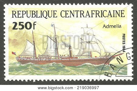 Central African Republic - CIRCA 1984: stamp printed by CAE Multicolor issue offset printing Shows Sailing Packet Ship Pericles Admella