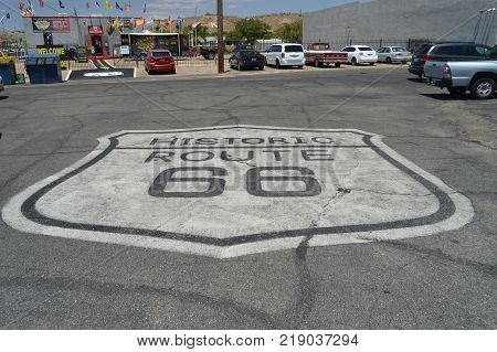 Emblem Of Route 66 At Seligman June 22 2017. Route 66 Seligman. Arizona USA EEUU.