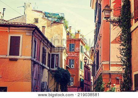 Picturesque glimpse of Trastevere in Rome Italy