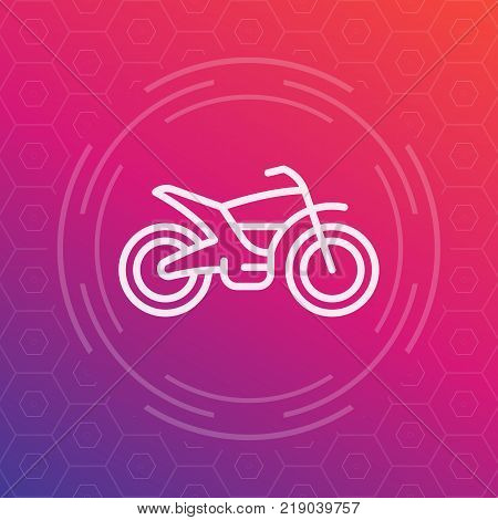 offroad bike, motorcycle linear icon, vector pictogram