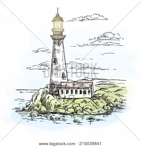 Island with rocks and lighthouse building on it near lighthouse keeper construction or warehouse. Beacon or searchlight, travel sea route beam. Architecture and guidance, ocean and marine theme