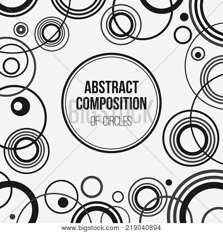 Abstract geometric composition of repeating circles. Minimalistic ornament. Overlapping circles background. Applicable for covers placards posters flyers and banner designs. Vector background.