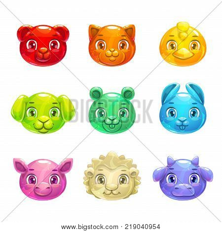 Cute cartoon colorful jelly animals faces. Gummy pets icons for game design. Vector set. Isolated on white background.