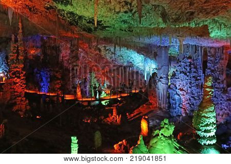 BEIT-SHEMESH, ISRAEL - SEPTEMBER 23, 2017: Avshalom Cave, also known as Soreq Cave, a large stalactites cave near Beit-Shemesh in central Israel
