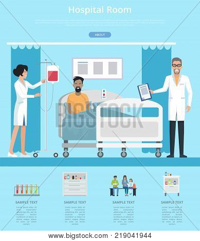 Hospital room services description with nurse and doctor in hospital room working with patient. Vector illustration with man in hospital bed on blue