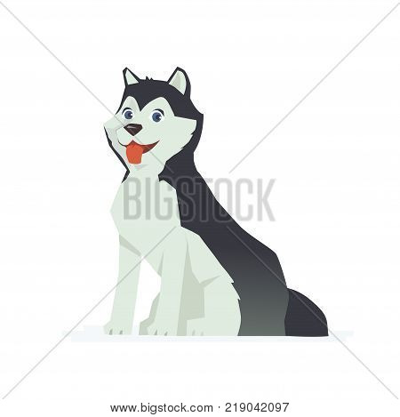 Cute husky - modern vector cartoon characters illustration isolated on white background. An image of a friendly Eskimo dog. High quality composition for a poster, banner, visual aids, booklets