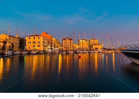 La Maddalena harbor at sunset. Sardinia Italy