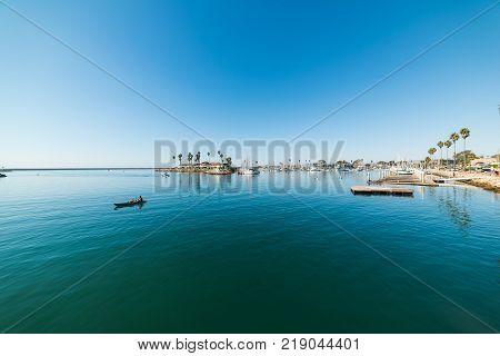 Kayaking in Oceanside shore in California, USA
