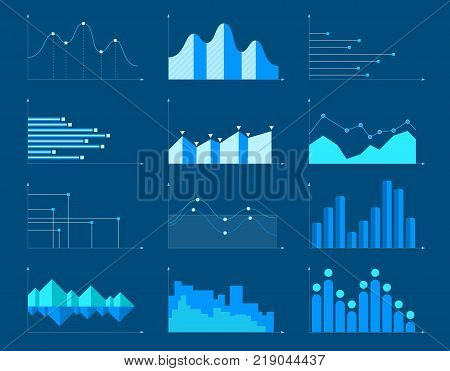 Set of different graphs and charts information on charts statistical data. Business charts and graphs infographic elements. Vector illustration.