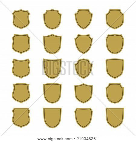 Shield shape gold icons set. Simple flat logo on white background. Symbol of security protection safety strong. Element badge for secure protect design emblem decoration Vector illustration