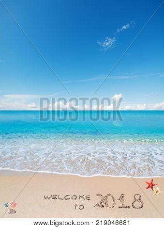 turquoise water and golden sand with shells and sea stars with