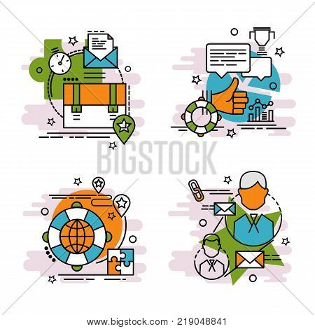 Set of outline icons of Management. Colorful icons for website mobile app design and print.