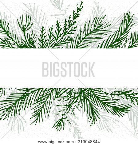 Merry Christmas greeting card postcard vector design: hand drawn green greenery winter tree pine needles juniper branch red wood blue spruce cedar leaf border frame. New year decorative template