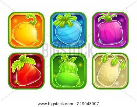 App icons with colorful glossy fantasy fruits. Application store elements set. Vector assets on white