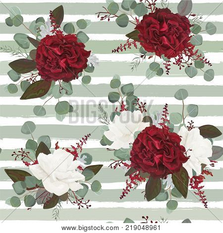 Vector Seamless floral pattern design drawn in watercolor style: garden white burgundy red Rose flower seeded Eucalyptus branch greenery leaves. Bohemian romantic print on stripped blue background
