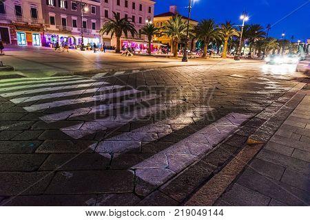 La Maddalena seafront by night in Sardinia