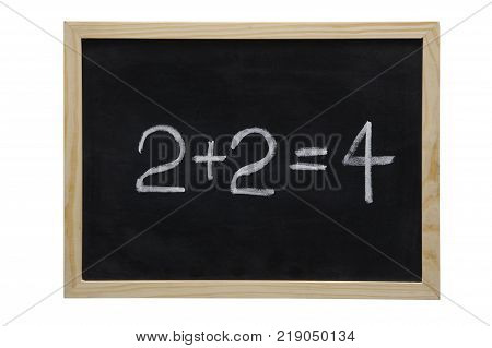 WOODEN FRAMED BLACK BOARD WITH THE SUM TOW PLUS TWO EQUALS FOUR WRITTEN WITH WHITE CHALK