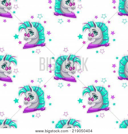 Stylish seamless pattern with cute cartoon pony face and stars on white background. Vector girlish texture.
