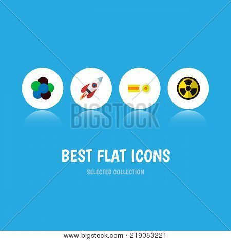 Icon flat science set of nuclear, rocket, oxygen and other vector objects. Also includes molecule, radiation, nuclear elements.