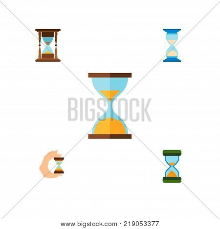 Icon flat timer set of instrument, hourglass, clock and other vector objects. Also includes sandglass, hourglass, timer elements.
