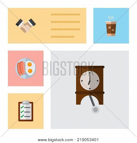 Icon flat life set of handshake, breakfast, pendulum vector objects. Also includes questionnaire, egg, coffee elements.