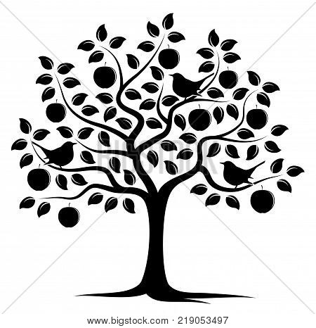 vector apple tree and birds isolated on white background