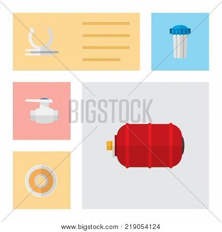 Icon flat industry set of pump valve, water tank, filtration and other vector objects. Also includes water, roll, tape elements.