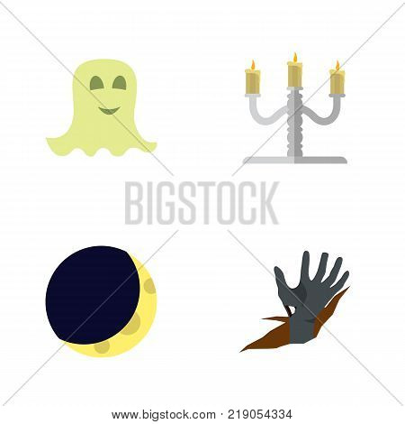 Icon flat celebrate set of half moon, specter, candelabrum vector objects. Also includes midnight, candle, specter elements.