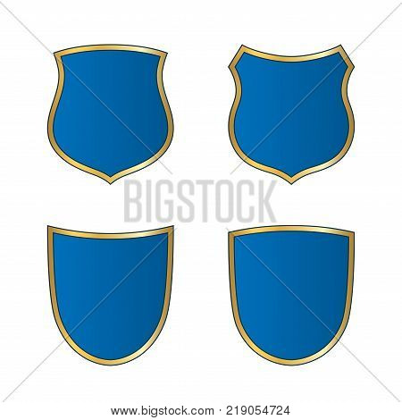 Gold-blue shield shape icons set. Bright logo emblem sign isolated on white background. Empty shape shield. Symbol of security protection defense. Shiny element design Vector illustration