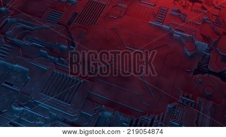 Hi-tech futuristic techno background. Abstract geometric pattern illuminated by colored lights. 3d rendering