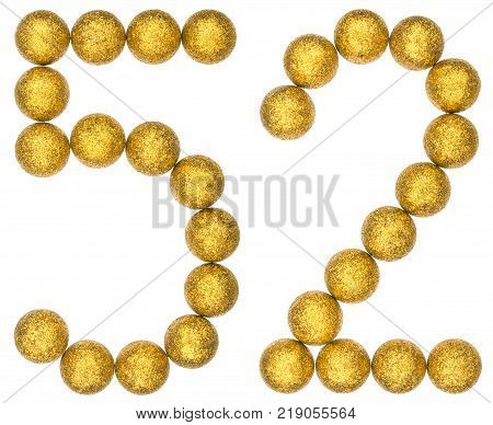 Numeral 52 fifty two from decorative balls isolated on white background